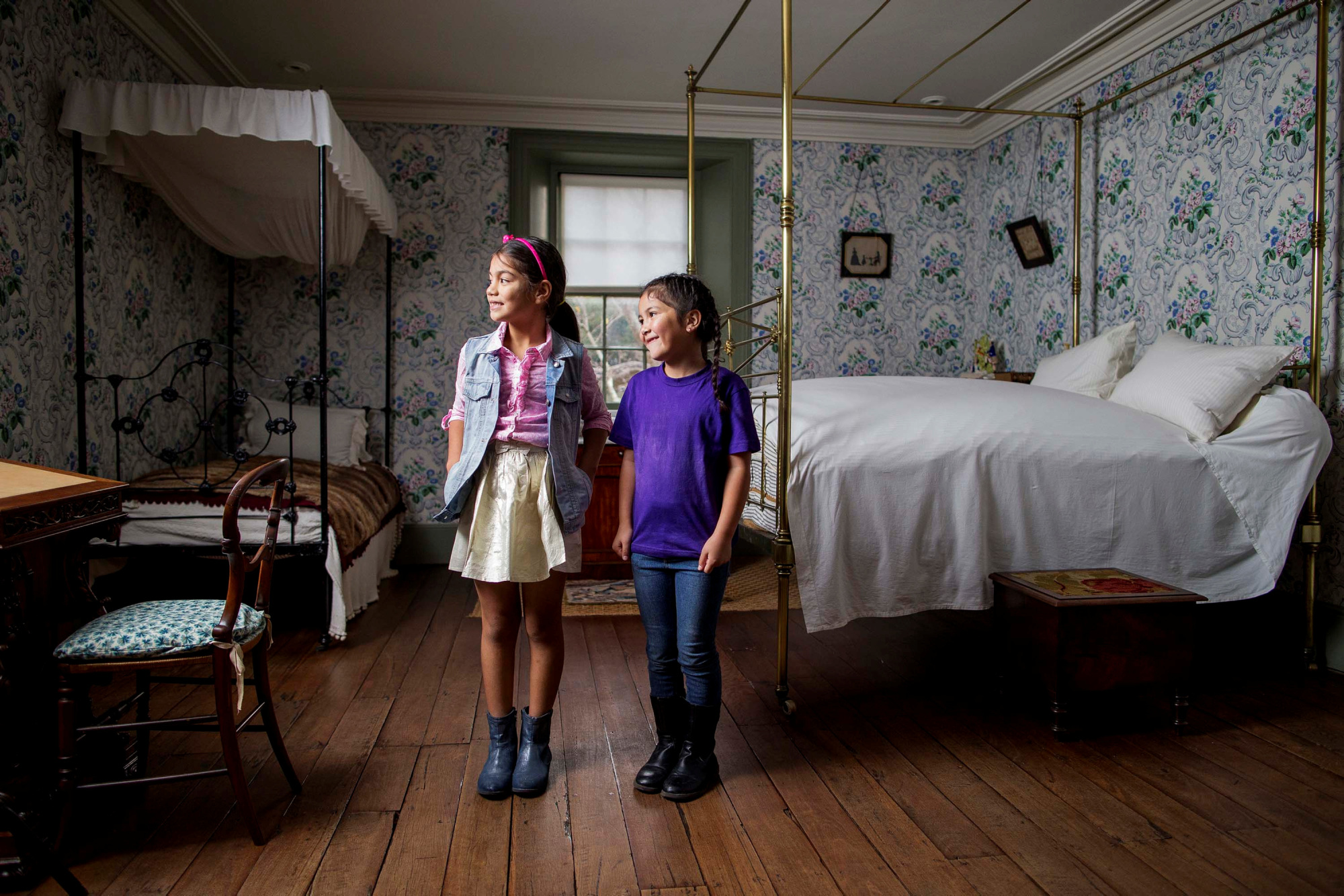 Two girls in Miss Wentworth's bedroom at Vaucluse House