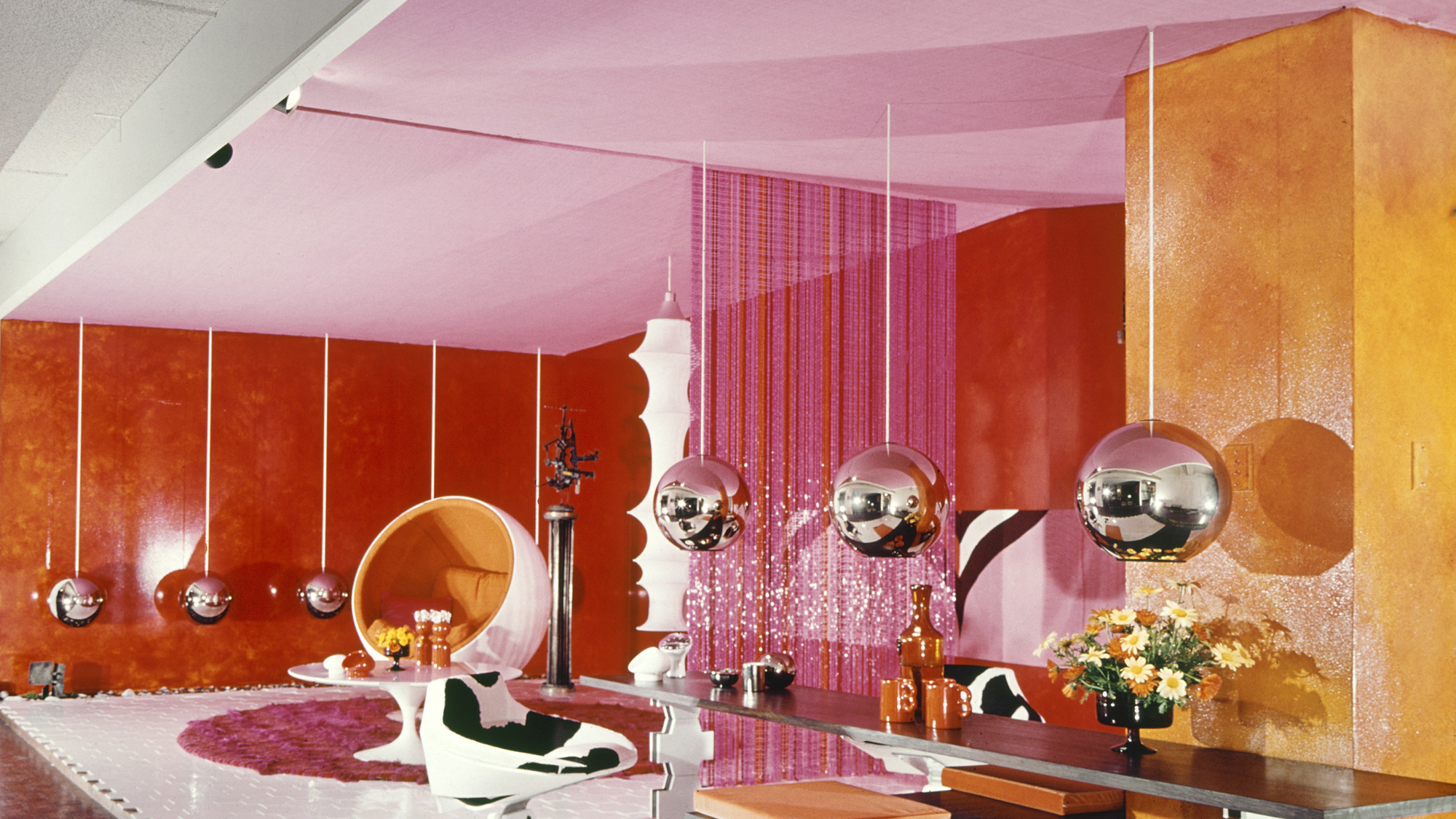 Exttremely colourful interior of room.