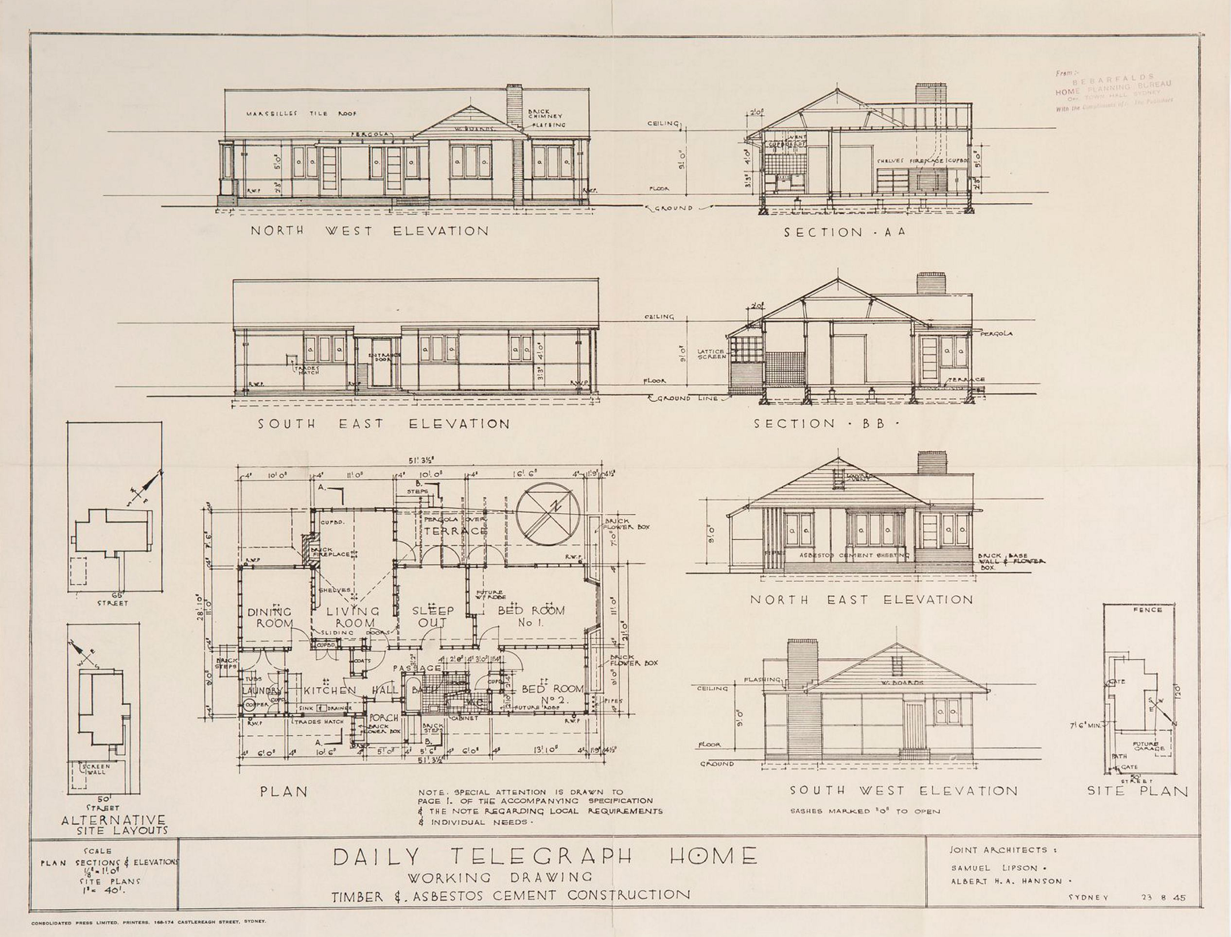 Californian Bungalow Floor Plans Post War Sydney Home Plans 1945 To 1959 Sydney Living