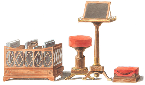 Colour plate of four items of furniture.