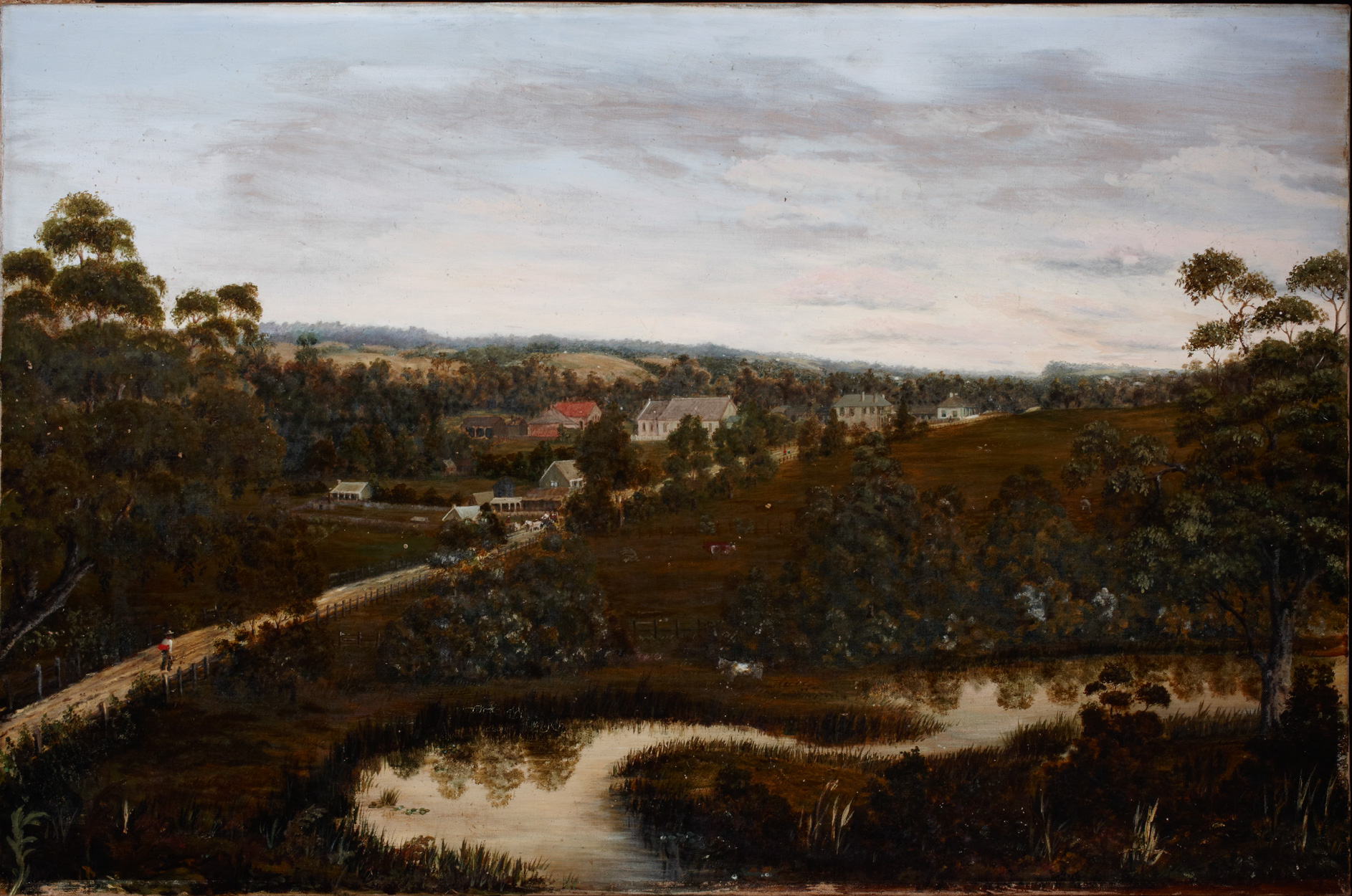 Oil painting on canvas, undated. The scene depicted is of Rouse Hill Village, Windsor Road and Second Ponds Creek. The creek dominates the lower foreground with the village towards the middle background.