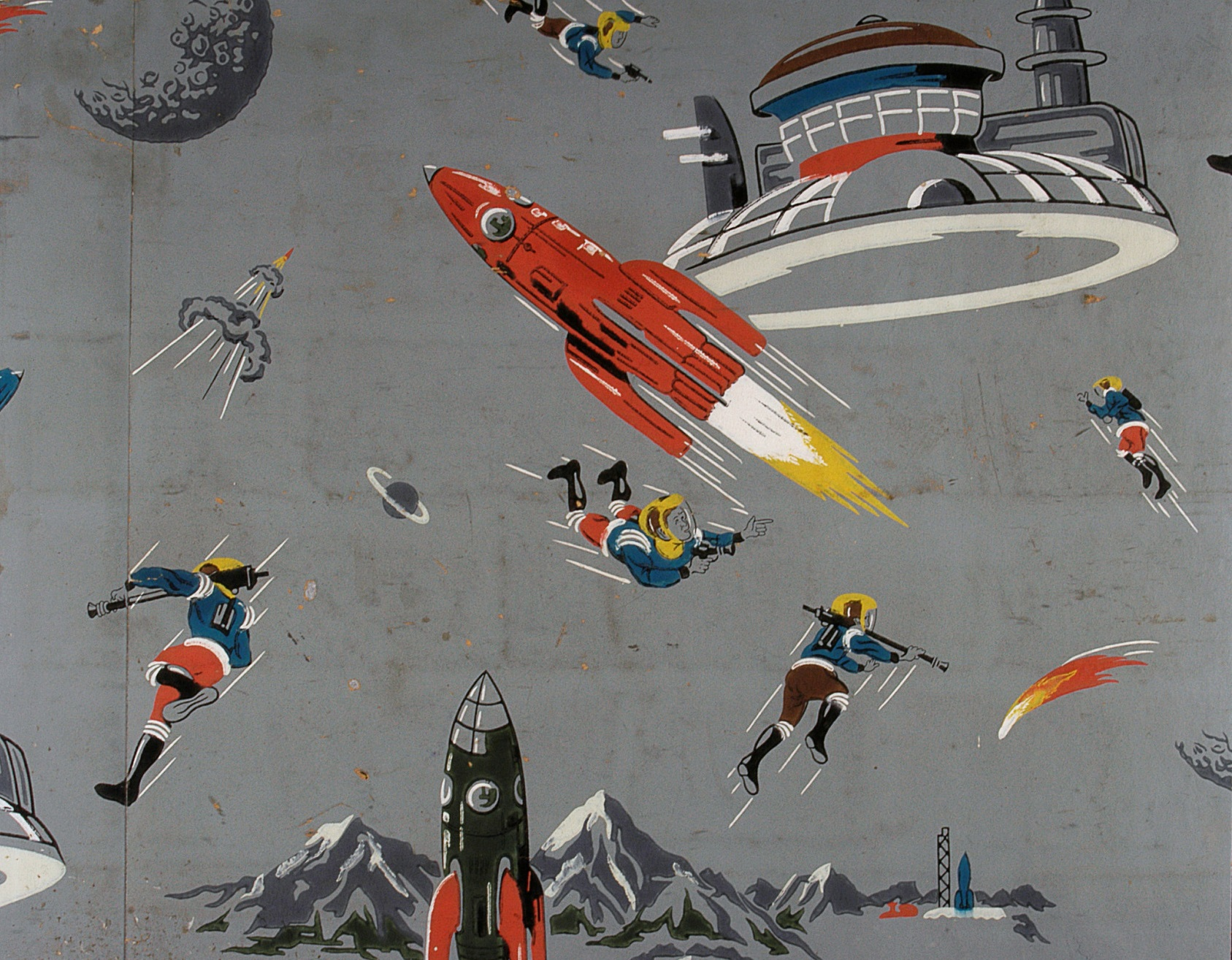 Whimsical wallpaper of space travel from the 1950s