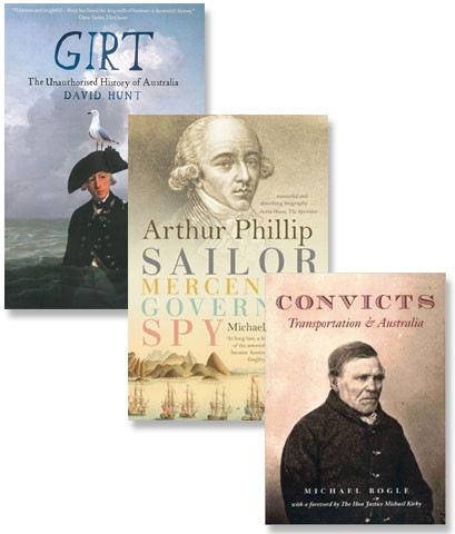 Composite image of three books about Australia's convict history