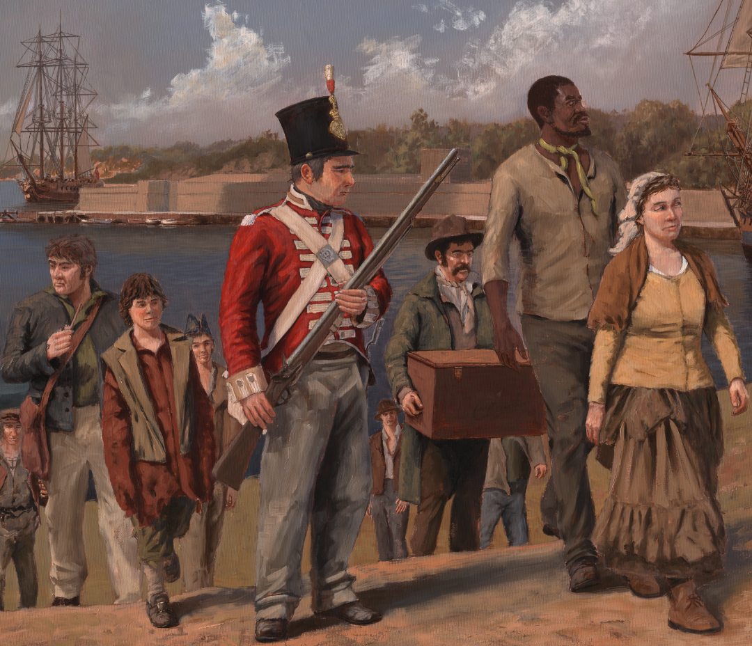 Painting of various people arriving in the colony
