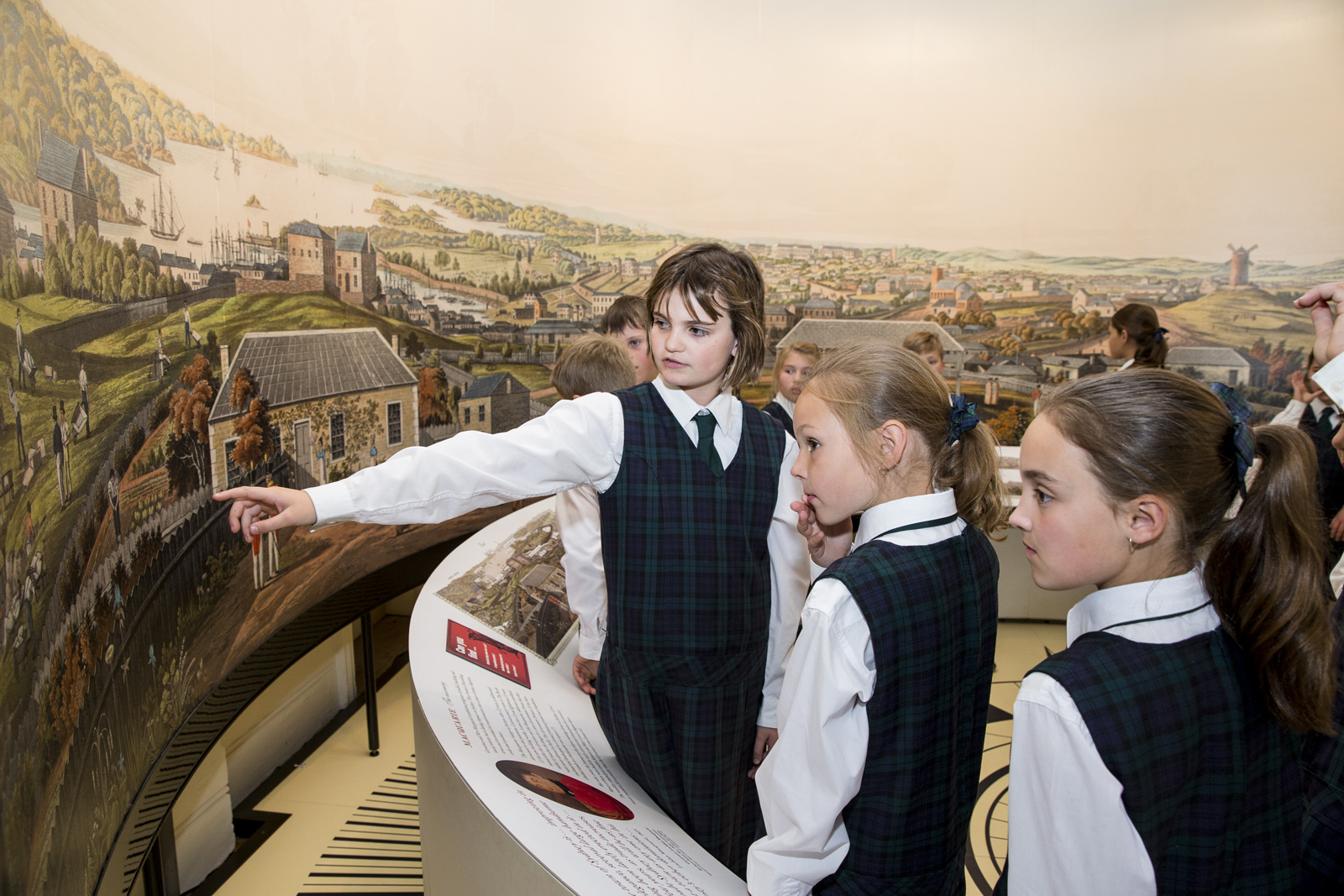 Students Investigating A Panorama Painting Of Sydney Cove