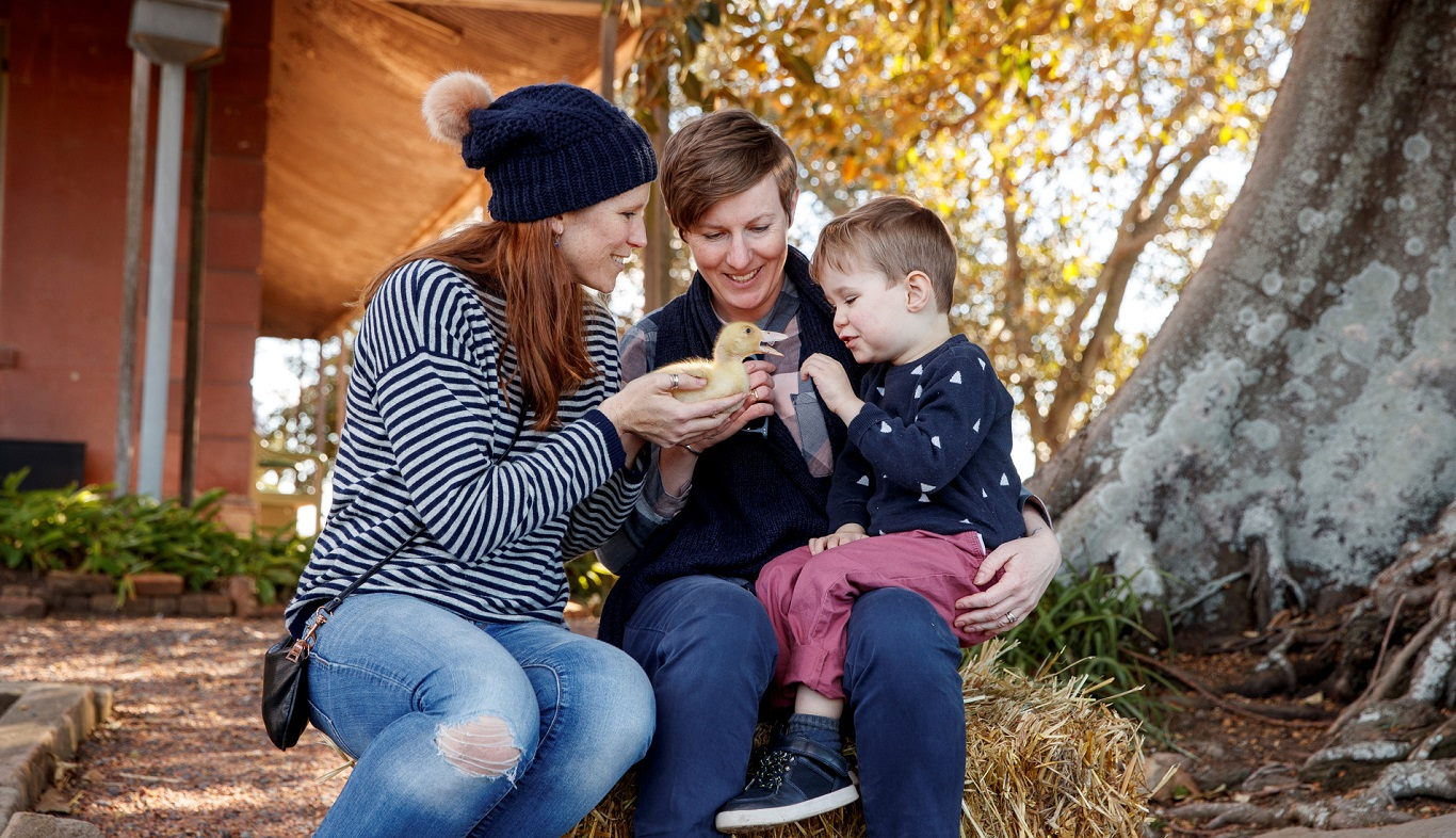 Couple holding child in outdoor setting.