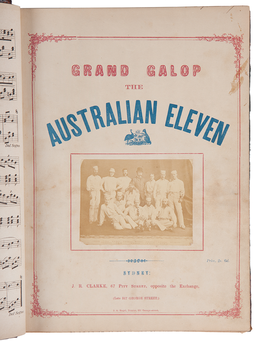 Cover of music book with title printed in red and blue above a photo of a cricket team.