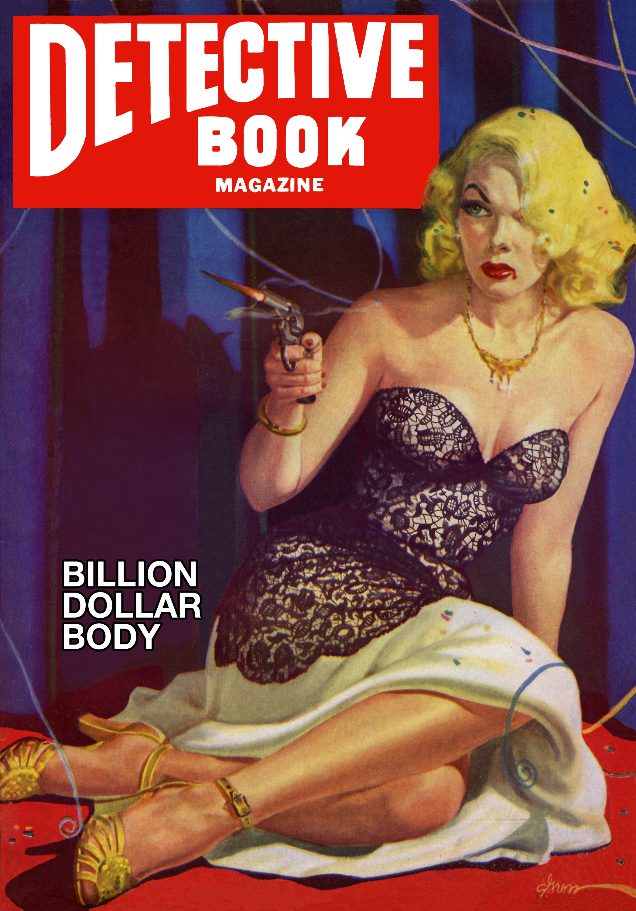 Illustrated book cover showing blonde woman, quite relaxed as she shoots at her unseen attacker.