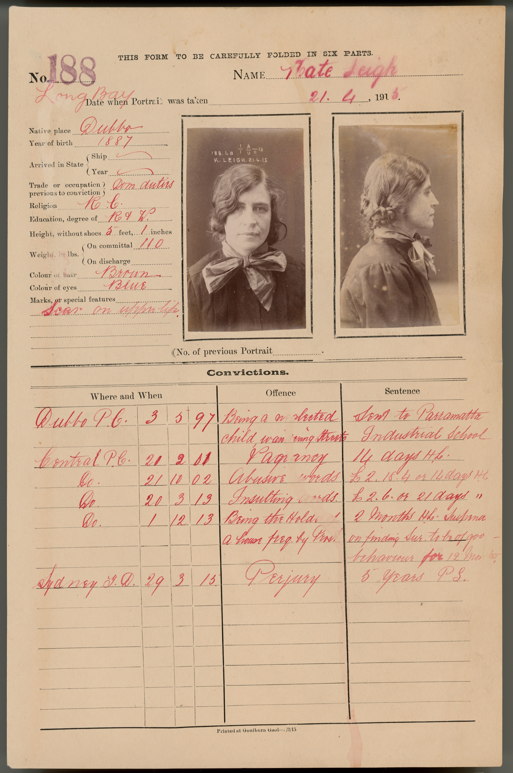 Page with written information, police photographs at the top right corner and table listing charges below.