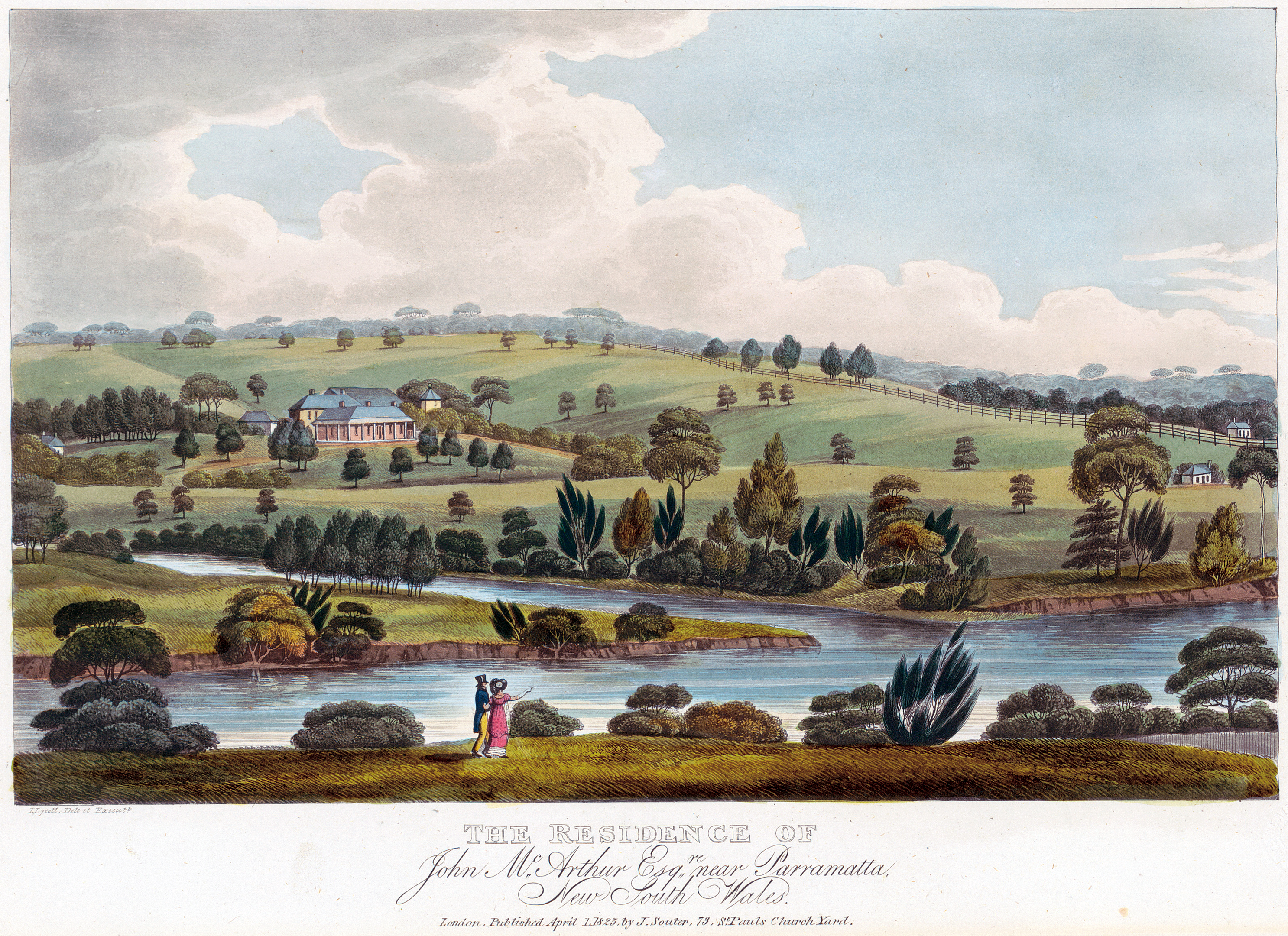 Coloured panoramic view of house across river.