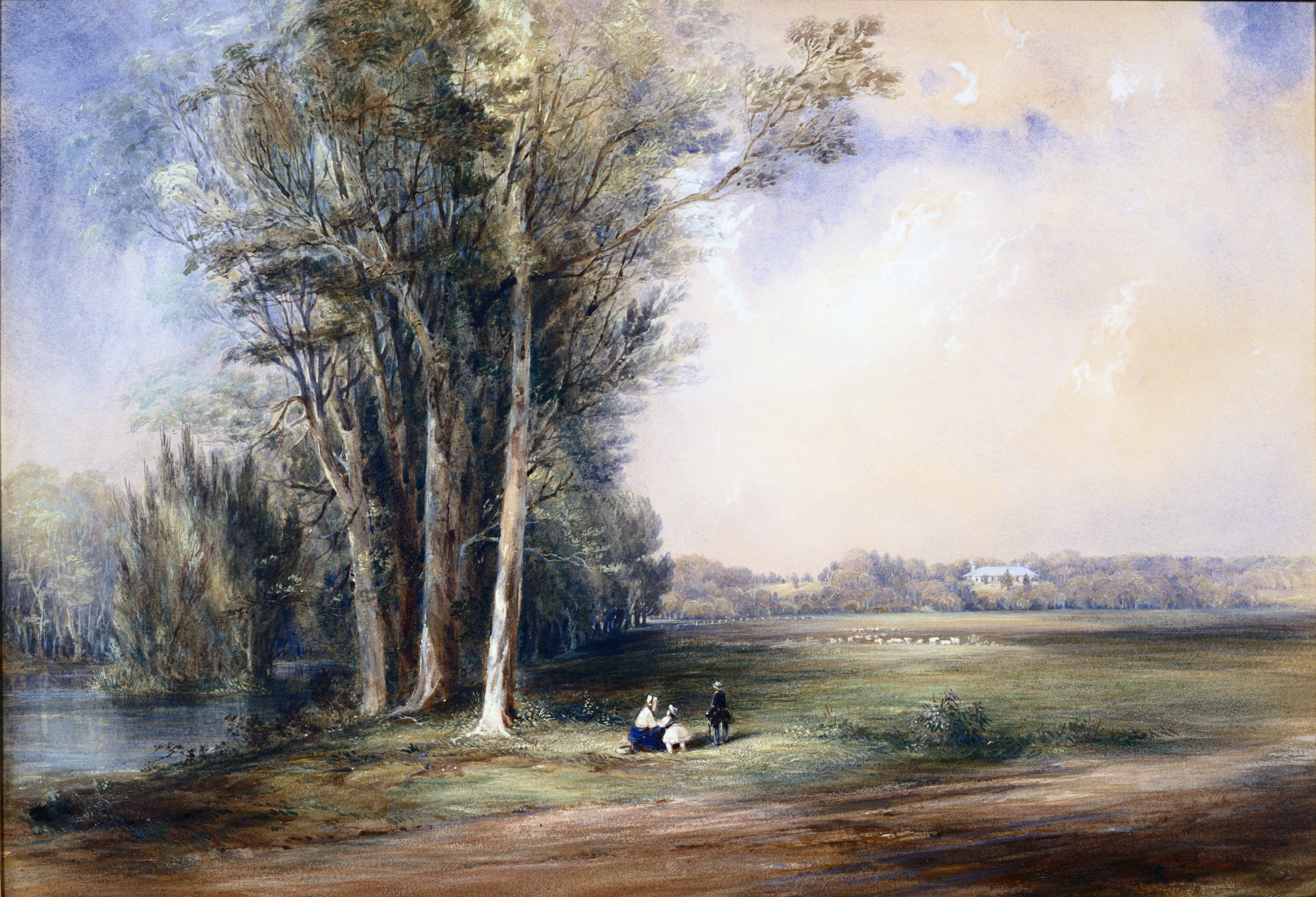 Landscape with tall trees to one side and open area to other with figures in middle ground.