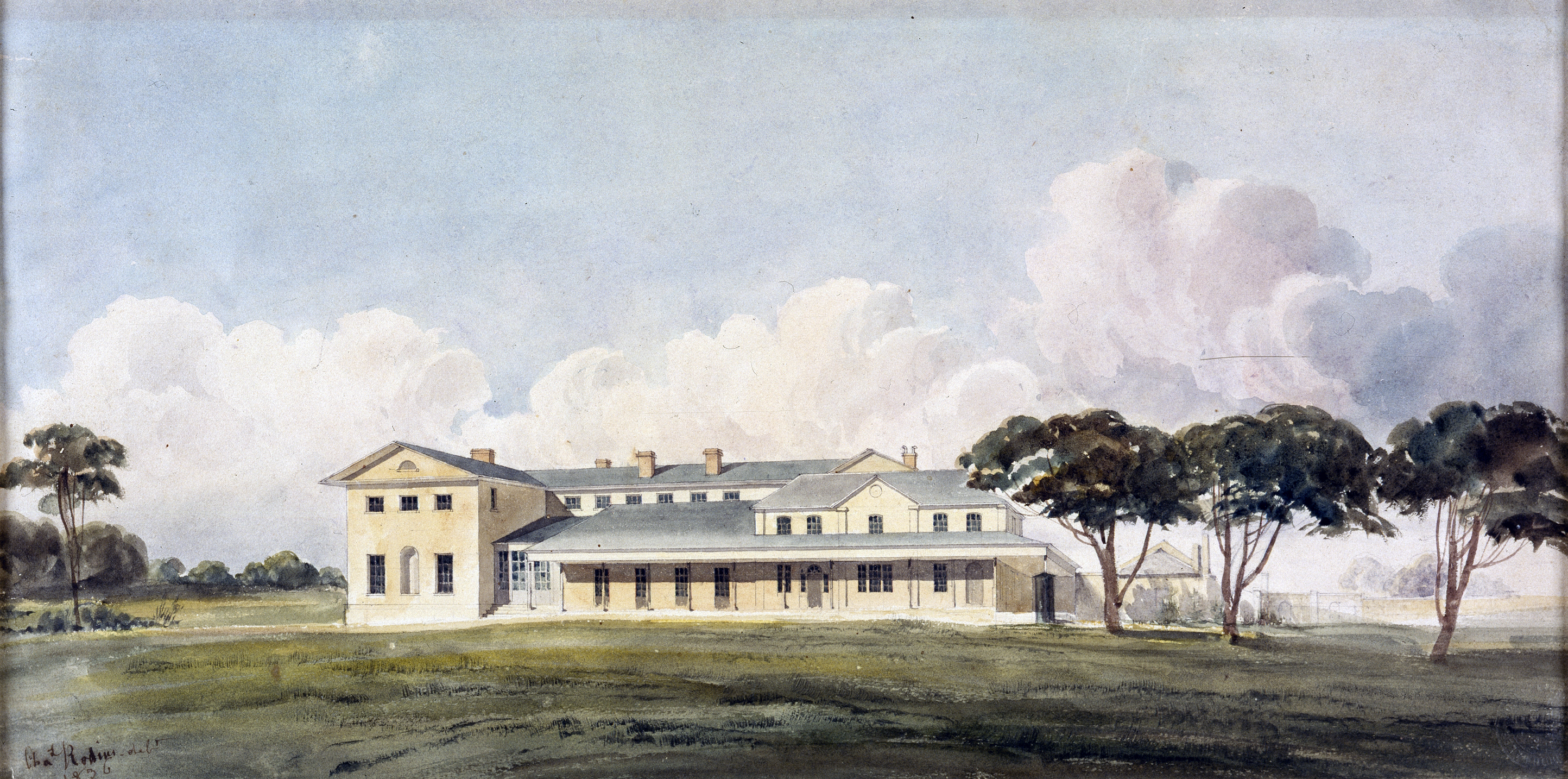 Watercolour of colonial era building in landscape.