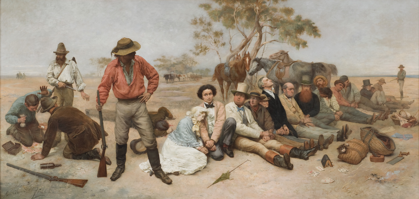 Painting of bushrangers with selection of weapons.