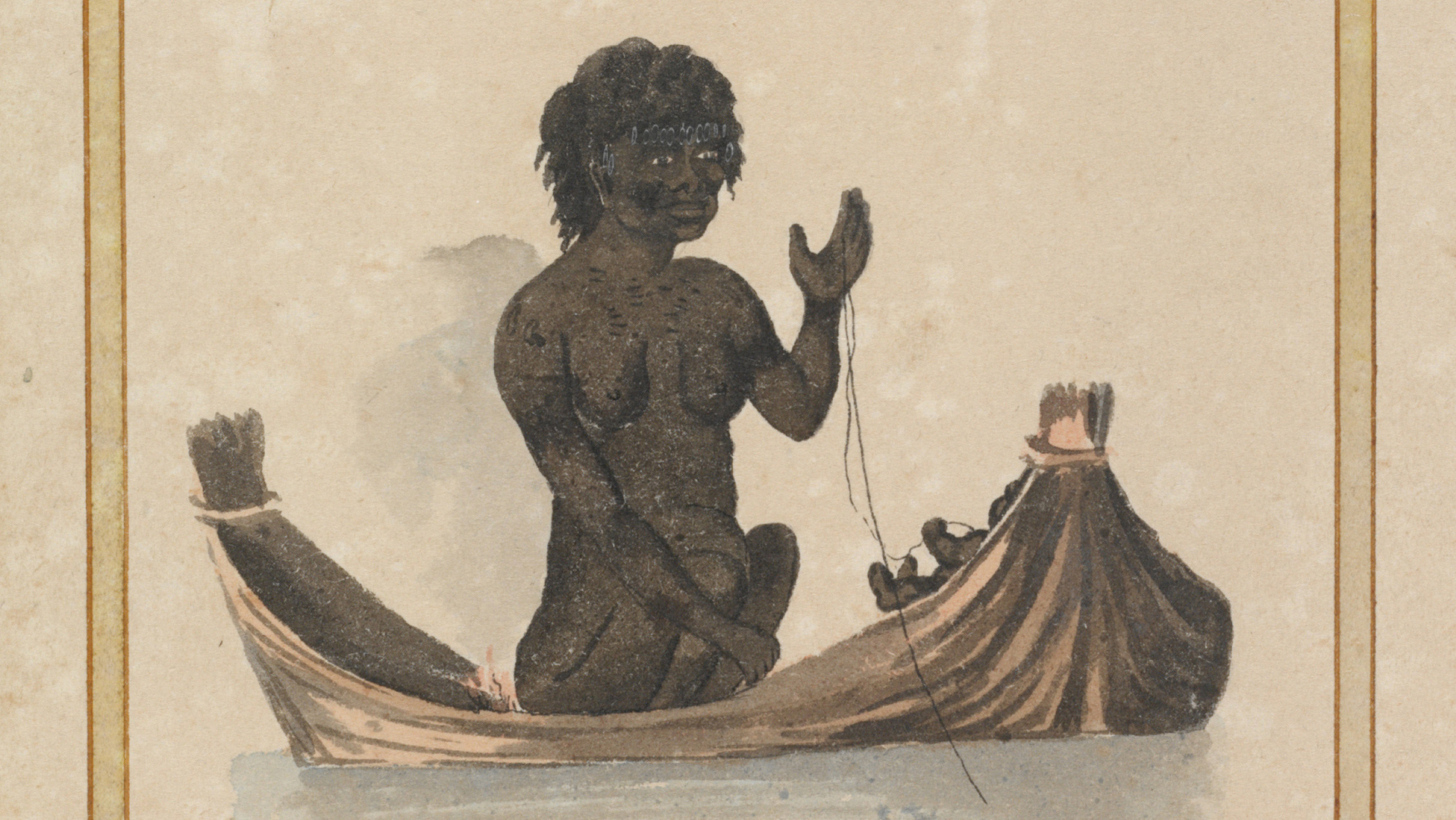 Handpainted image from book of woman in canoe. Margins of page visible on left and right.