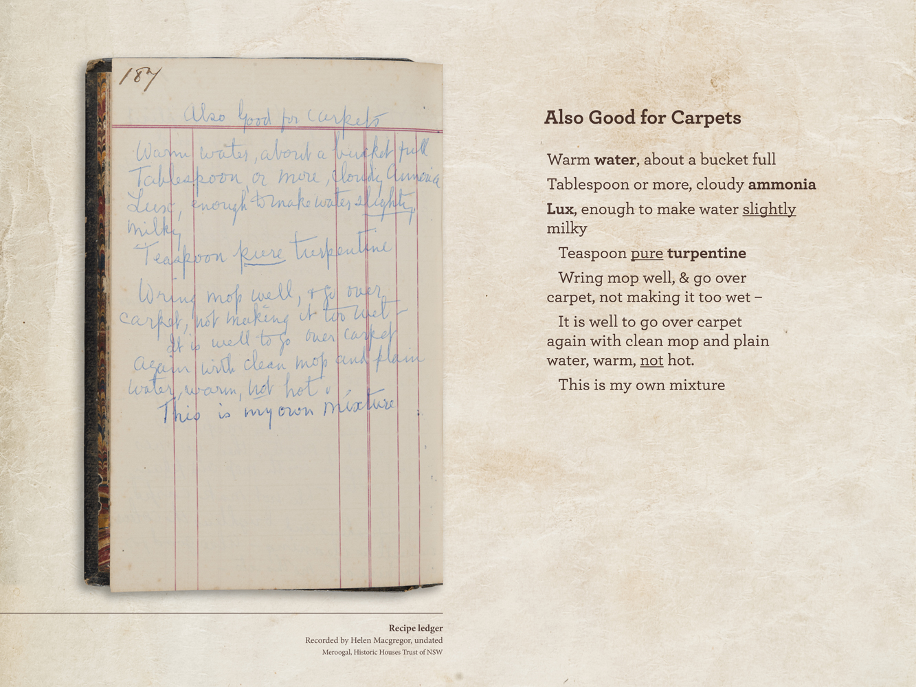 A manuscript cookbook from Meroogal | Sydney Living Museums