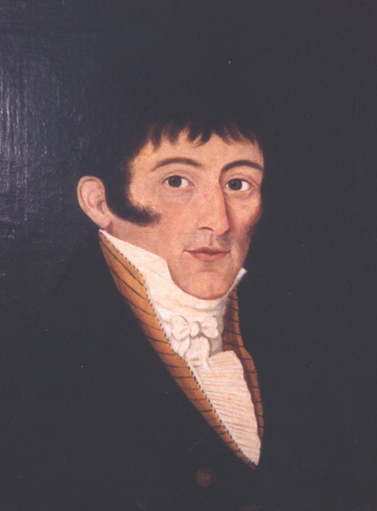 Oil painting of dark haired man against dark background.