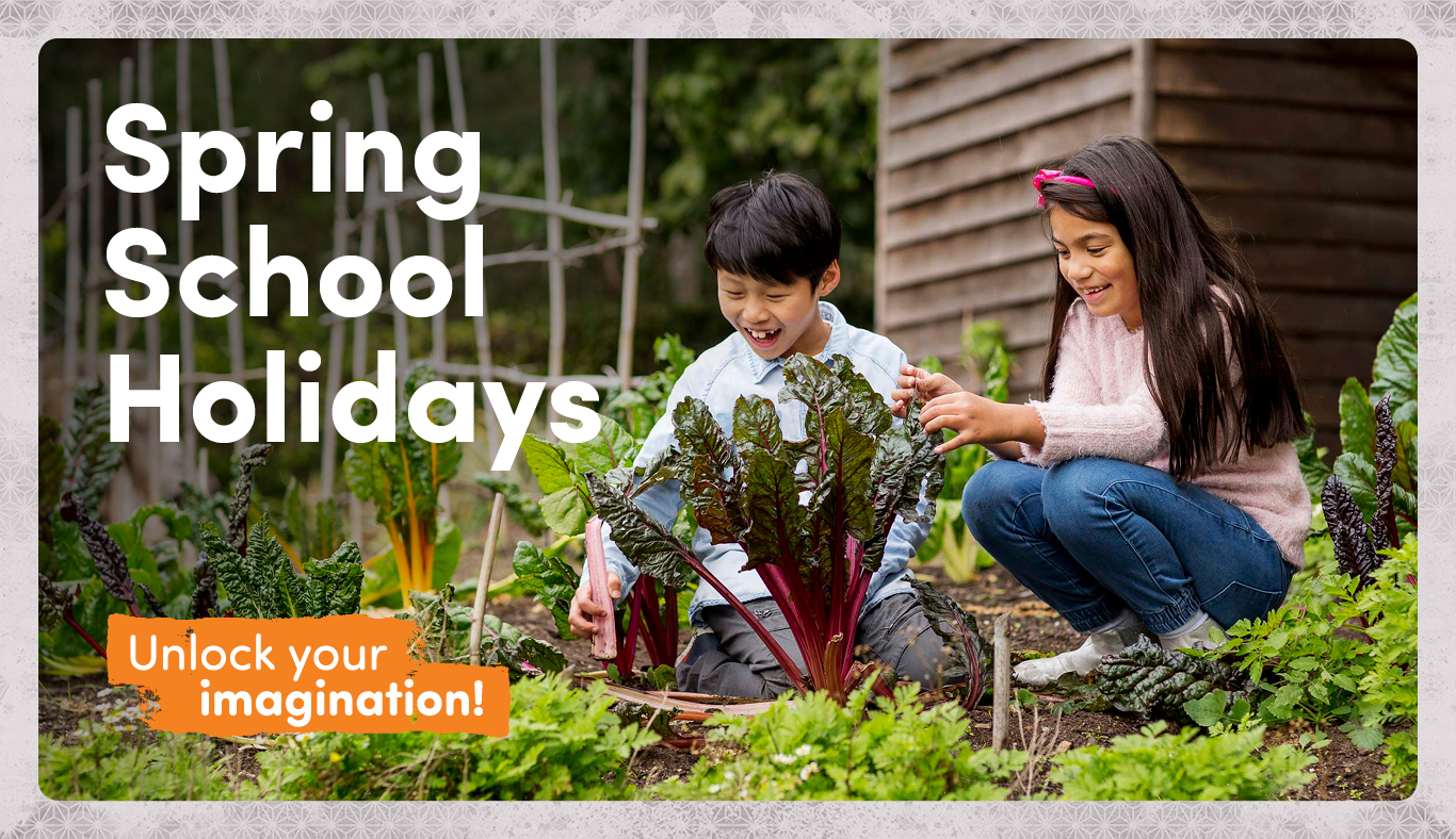 Spring School Holidays banner overlay over image of two kids in garden setting.