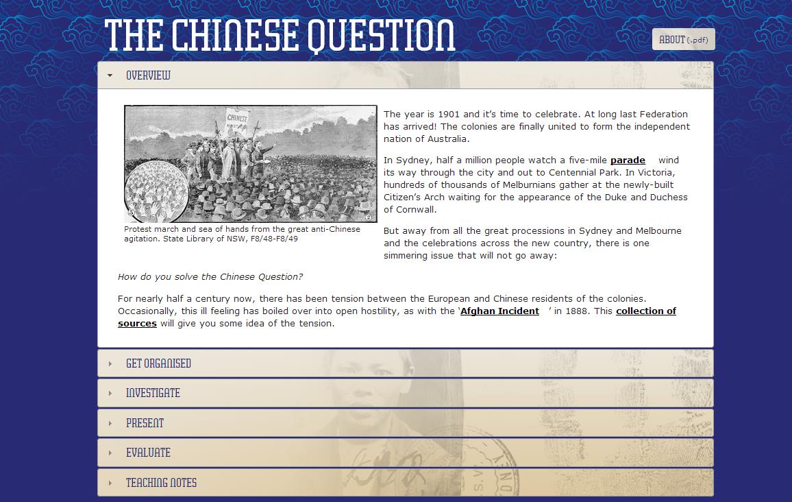 Composite of image and text for online resource - The Chinese Question