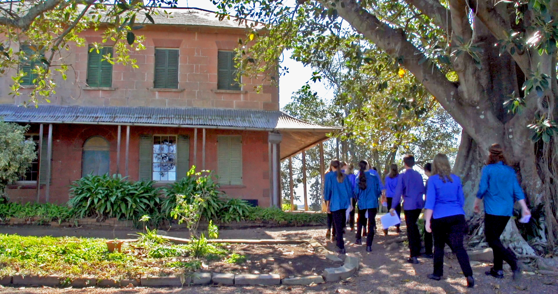 Members of Sydney Children's Choir on a tour of Rouse Hill Estate.