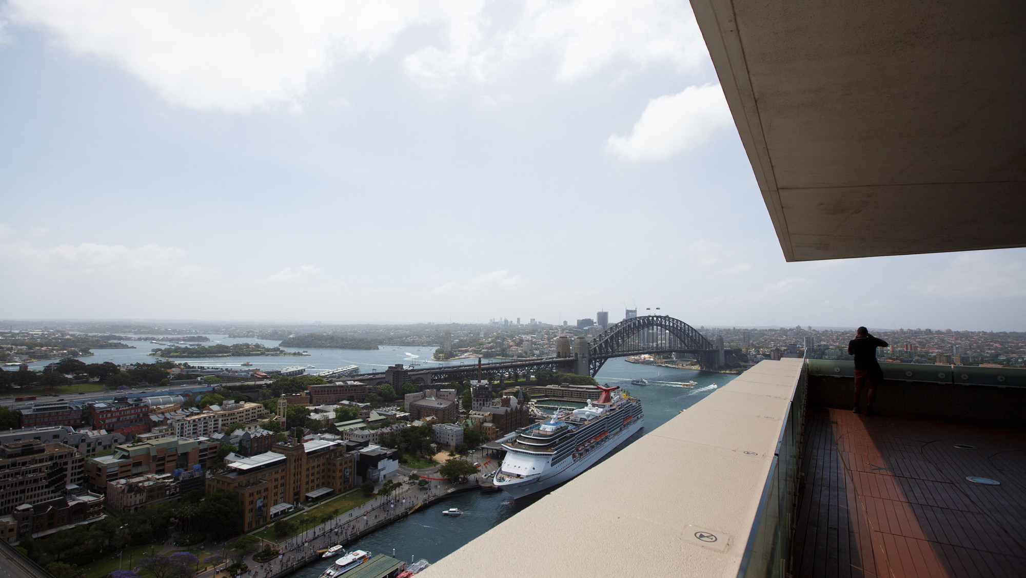 View of Harbour Bridge from rooftop balcony.