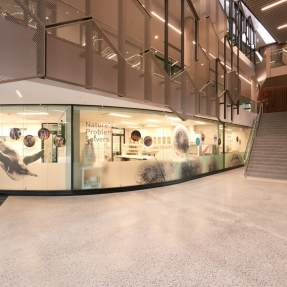 Interior photograph of the Taronga Institute of Science and Learning labs, functional spaces used for research and to showcase STEM to students.