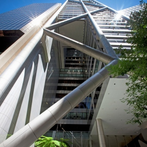 Exterior shot looking up at 9 Castlereagh Street, Sydney.