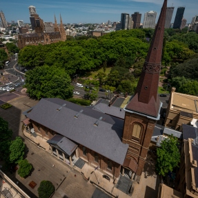 Aerial view of St James' Church, King Street.