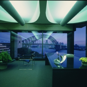 Seidler office interior, with 'Open Mace' sculpture by Charles O Perry on desk, May 1973.