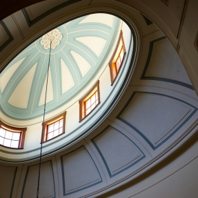Photograph looking up at the dome in the saloon at Elizabeth Bay House.