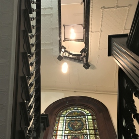 Interior photograph of Property Council House, stairwell, ceiling and window details.