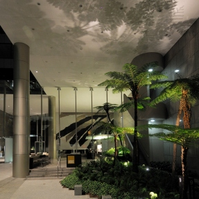 Steensen Varming at 9 Castlereagh Street, Landscaped forecourt with Lin Utzon mural in the background.