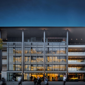 Exterior photograph of the new F23 Administration Building at The University of Sydney, located on Eastern Avenure.