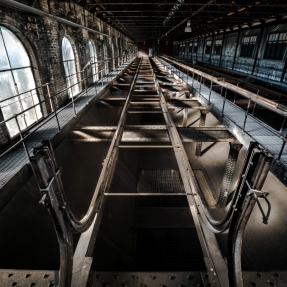 Interior photograph of The Boiler House, West Ryde, looking inside the coal staithe.