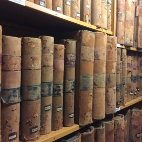 State archives on shelf at Western Sydney Records Centre.