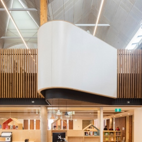 Interior photograph of Marrickville Library including information desk.