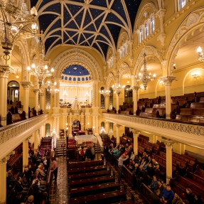 The main sanctuary of the Great Synagogue of Sydney from the elevated gallery.