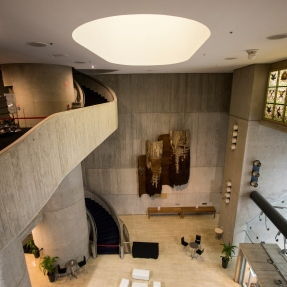 Sydney Masonic Centre's marble three-storey entrance foyer.