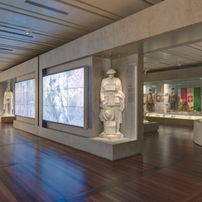Interior photograph of the Centenary Exhibition at the Anzac Memorial, Hyde Park.