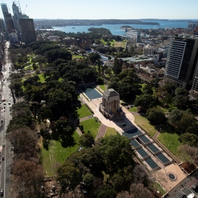 Exterior aerial photograph of the the Anzac Memorial, Hyde Park and surrounds.