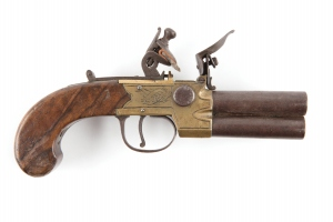 Wood and brass pistol.