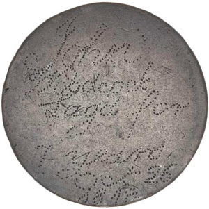 Coin with words 'John Hancock...' inscribed into it