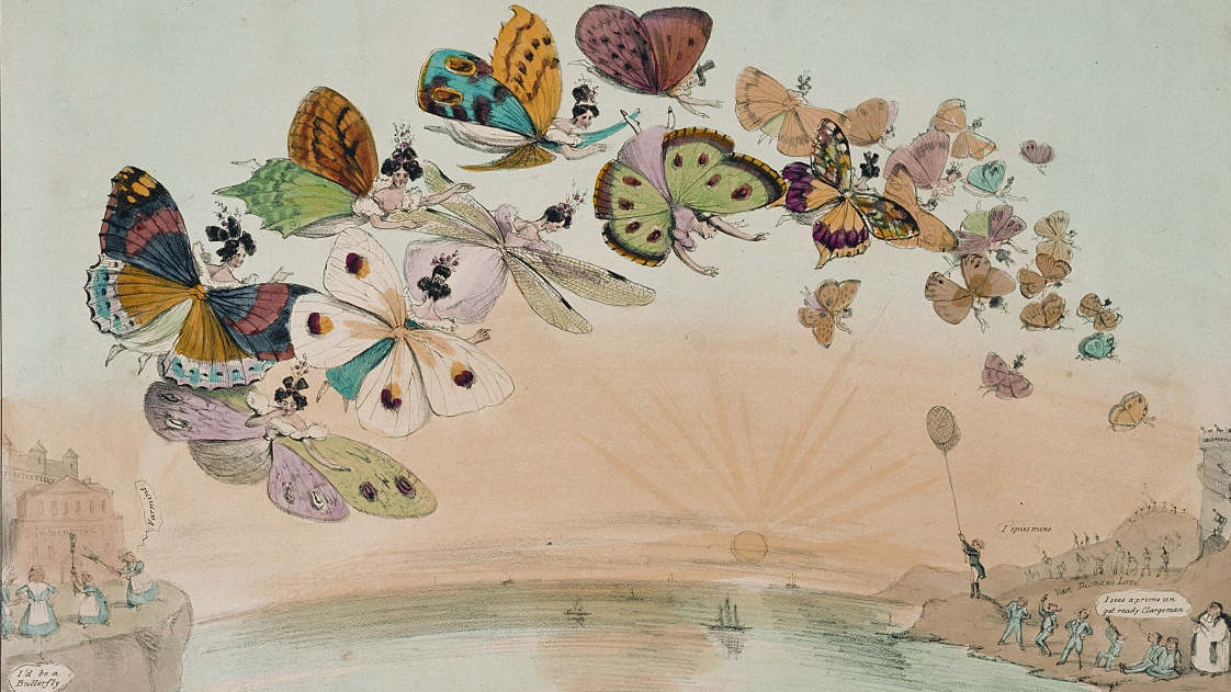 Colourful print of women imagined as butterflies flying across ocean between Britain and Australia.