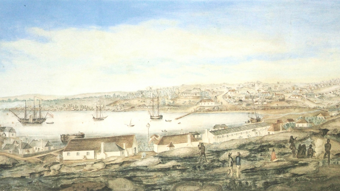 Sydney from the west side of the cove, George Evans, watercolour, 1802. The long white building to the right in the middle distance is the hospital. Mitchell Library, State Library of NSW, XV1/c1803/1