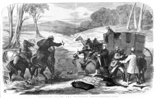 Sticking up of the Goulburn Mail. Ebenezer and David Syme, March 28, 1867.