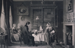 A very formal Victorian family sitting down to breakfast in a 19th century dining room with the females sitting back watching the important male figure quietly reading a newspaper. There are pictures on the wall and elaborate furniture in the room.