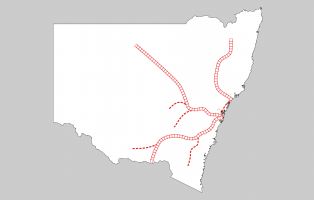 Map of New South Wales showing railway lines.