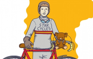 Illustrated woman standing next to bicycle.