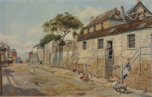 Painting showing the exterior of a building with a dirt road
