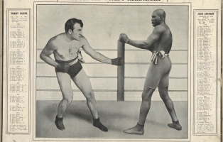 Printed souvenir of the fight with the head line 'fight for the world's championship' and image of the two boxers.
