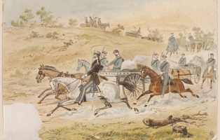 Artwork showing gold escort during gold rush